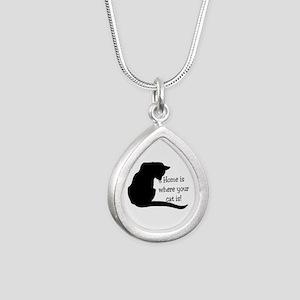 Home Cat Silver Teardrop Necklace