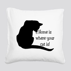 Home Cat Square Canvas Pillow
