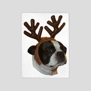 Boston Terrier Reindeer 5'x7'Area Rug