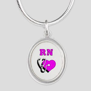 RN Nurses Care Silver Oval Necklace