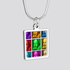 Shakespeare Pop Art Silver Square Necklace