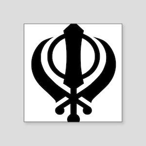"khanda black Square Sticker 3"" x 3"""