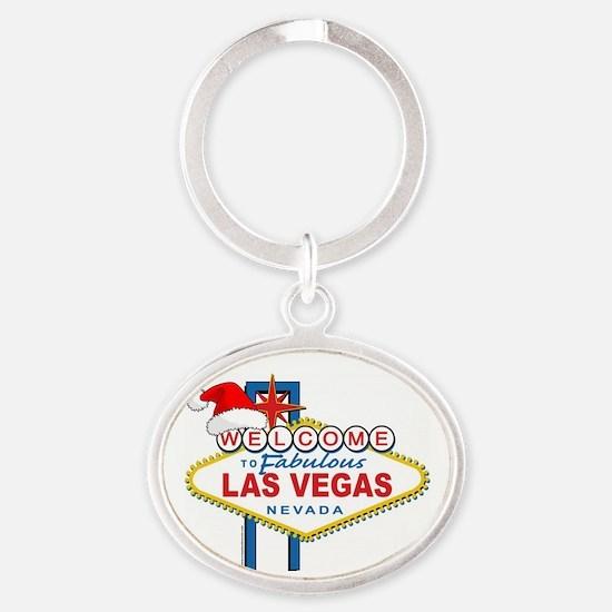 Welcome to Las Vegas Christmas Oval Keychain