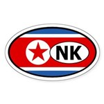 North Korea flag Oval Sticker