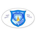 2 Souls 1 Heart Oval Sticker