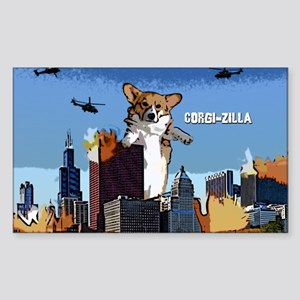Corgi-zilla Oval Sticker