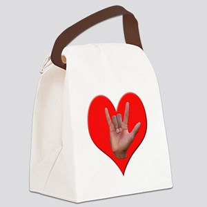 ILY Heart Canvas Lunch Bag