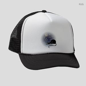 FIN-cat-moon-stars-1 Kids Trucker hat
