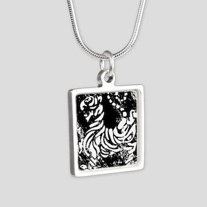vintage japanese tiger Silver Square Necklace