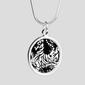 vintage japanese tiger Silver Round Necklace