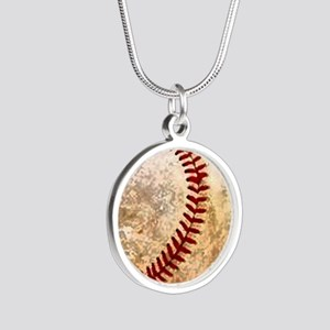 BASEBALL Silver Round Necklace