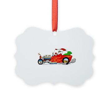 Hot Rod Santa Two Picture Ornament
