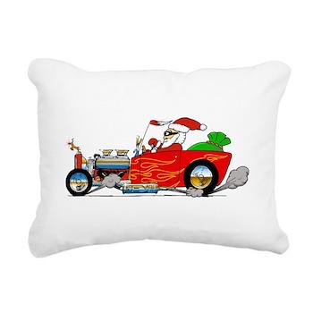 Hot Rod Santa Two Rectangular Canvas Pillow