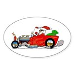 Hot Rod Santa two Sticker (Oval)