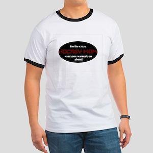 Crazy Hockey Mom T-shirt Ringer T