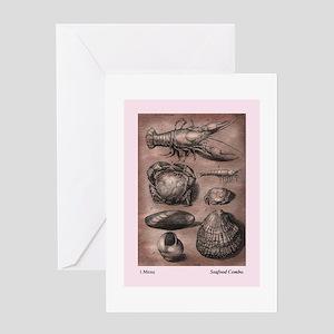 Rustic Seafood Menu Motif. Greeting Card