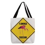 Flamingo Crossing Sign Polyester Tote Bag