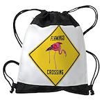 Flamingo Crossing Sign Drawstring Bag