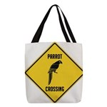 crossing-sign-parrot Polyester Tote Bag