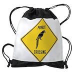 crossing-sign-parrot Drawstring Bag