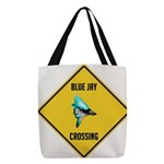 crossing-sign-blue-jay Polyester Tote Bag