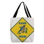 crossing-sign-bluebird-2 Polyester Tote Bag