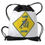 crossing-sign-bluebird-2 Drawstring Bag