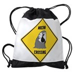 crossing-sign-macaw Drawstring Bag
