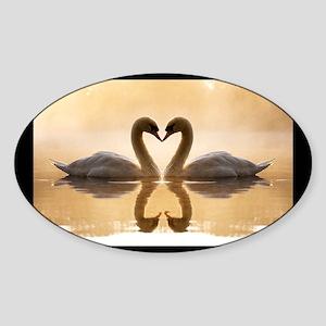 Love Swans Sticker (Oval)