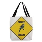 crossing-sign-parakeet Polyester Tote Bag