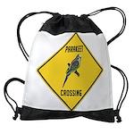 crossing-sign-parakeet Drawstring Bag