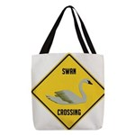 crossing-sign-swan Polyester Tote Bag