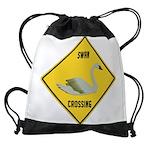 crossing-sign-swan Drawstring Bag