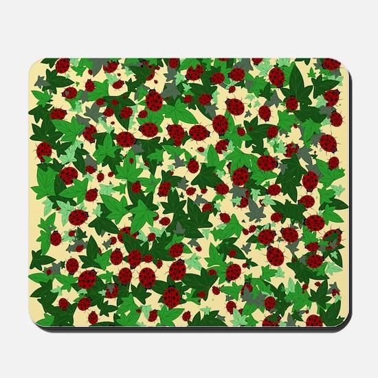 Ladybugs and Ivy on Sunny Yellow Mousepad