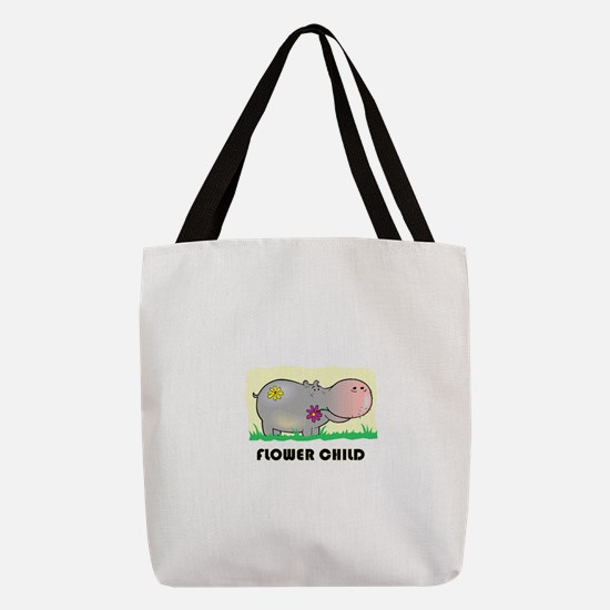 FIN-hippo-flower-child.png Polyester Tote Bag