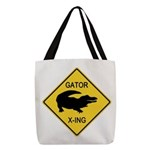 crossing-sign-alligator Polyester Tote Bag