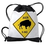 crossing-sign-bison Drawstring Bag