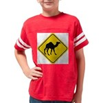 Camel Crossing Sign Youth Football Shirt