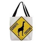 crossing-sign-giraffe Polyester Tote Bag