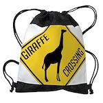 crossing-sign-giraffe Drawstring Bag