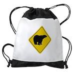 bear-crossing-sign-... Drawstring Bag