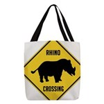 Rhino Crossing Sign Polyester Tote Bag