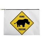 Rhino Crossing Sign Makeup Pouch