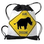 Rhino Crossing Sign Drawstring Bag