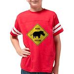 Rhino Crossing Sign Youth Football Shirt