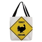 Turkey Crossing Sign Polyester Tote Bag