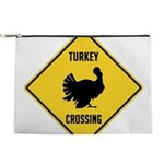 Turkey Crossing Sign Makeup Pouch