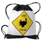 Turkey Crossing Sign Drawstring Bag