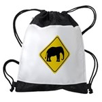 elephant-crossing-sign Drawstring Bag