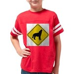 wolf-crossing-sign.... Youth Football Shirt